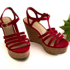Candie's Red Strappy Wedges Size 7 M